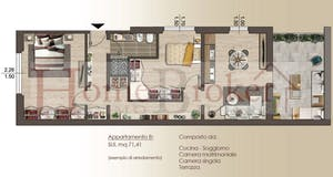 Two-bedroom Apartment of 72m² in Via Leonardo Bruni